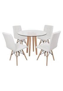 Conjunto Mesa De Jantar Em Vidro 90Cm Com Base Vértice + 4 Cadeiras Gomos - Branco