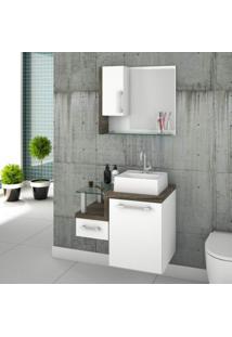 Gabinete Para Banheiro Com Cuba Quadrada Q32 E Espelheira Com Porta Legno 630W Compace Branco/Carvalho Dark