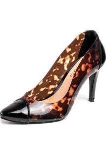 Sapato Scarpin Salto Alto Fino Em Verniz Preto Com Cristal Onça - Kanui