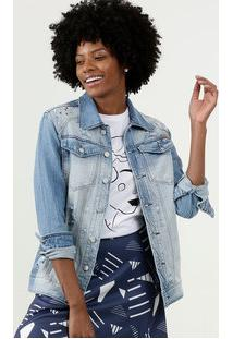 Jaqueta Feminina Destroyed Pedraria Uber Jeans