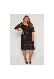 Vestido Almaria Plus Size Pianeta Midi Paetê Preto