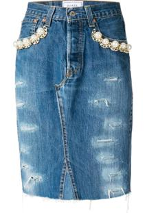 190507df35 Forte Dei Marmi Couture Saia Jeans Com Esferas Peroladas - Azul