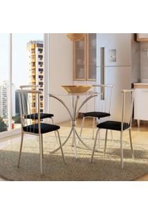 Conjunto De Mesa Com 4 Cadeiras Fábio Napa Preto