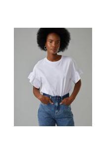 Amaro Feminino T-Shirt Malha Babado Mangas, Branco