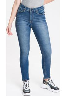 Calça Jeans Feminina Five Pockets Body Skinny Destroyed Cintura Alta Azul Marinho Calvin Klein - 34