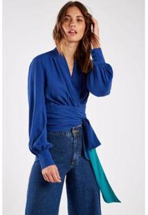 Blusa Sacada Cachecouer Faixa Bicolor Feminina - Feminino-Azul