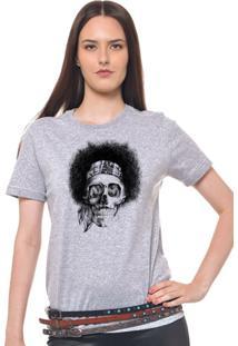Camiseta Feminina Joss - Caveira Black Power - Feminino-Mescla