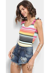 Body Top Orange Listrado Feminino - Feminino-Azul+Pink