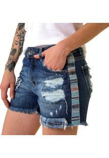 Shorts Jeans Estone Athleisure Rasgos Feminino - Feminino-Azul