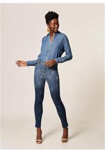 Calça Jeans Mob Skinny Arabescos Destroyer Feminina - Feminino
