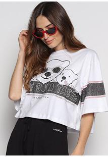 Camiseta Cropped Coca-Cola Polar Bear Feminina - Feminino-Branco