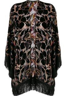 Etro Abstract Print Fringed Cardigan - Preto