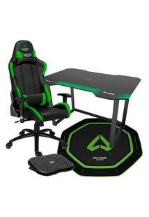 Cadeira Gamer Alpha Gamer Vega Preta/Verde + Mesa Gamer Fortrek Verde + Tapete Gamer Alpha Gamer Octan Verde + Apoio De Pé Husky