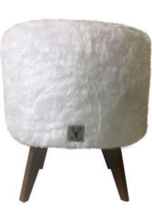 Puff Pé Palito Redondo Alce Couch Pelinho Pelucia Branco 40Cm