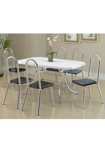 Mesa 1507 Branca Cromada Com 6 Cadeiras 182 Fantasia Preto Carraro