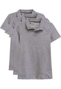 Kit De 3 Camisas Polo Femininas Cinza