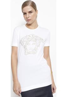 Camiseta Com Aplicações - Branca & Douradaversace