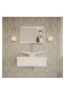 Conjunto Para Banheiro Bancada Com Cuba F44 Folha E Espelheira City 601 Branco Chess