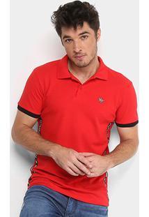 Camisa Polo Rg 518 Piquet Logo Metal Faixa Masculina - Masculino-Vermelho