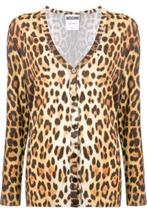 Moschino Cardigan Com Animal Print - Marrom
