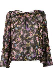 Patrizia Pepe Blusa Translúcida Com Estampa Floral - Preto
