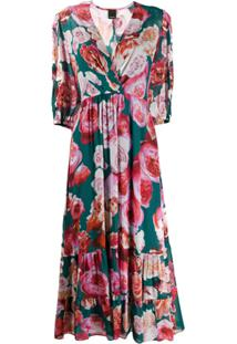 Pinko Vestido Com Amarração E Estampa Floral - Verde