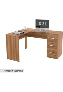 Mesa Para Escritório Office Plus Com Gavetas- Castanho