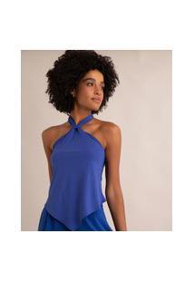 Blusa Cropped Frente Única Texturizada Azul Royal