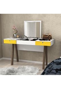 Penteadeira 2 Gavetas Com Espelho Glamour Branco/Amarelo/Noce - Urbe Móveis