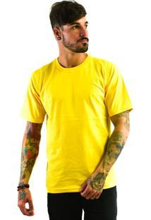 Camiseta Rich Young Básica Gola Careca Lisa Amarela