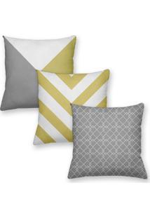 Kit 3 Capas De Almofadas Decorativas Own Geométricas Amarelo E Cinza 45X45 - Somente Capa