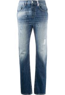 Frankie Morello Calça Jeans Reta Com Cintura Alta - Azul