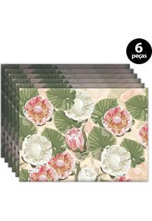 Jogo Americano Mdecore Floral 40X28 Cm Bege 6Pçs