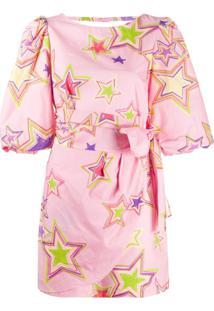 Gina Vestido Com Estampa De Estrela - Rosa