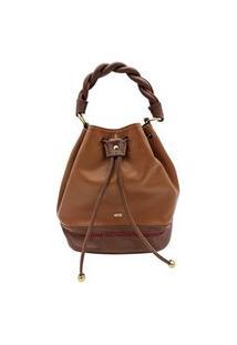 Bolsa Feminina Mayon 5242 Marselha Caramelo/Conhaque Couro