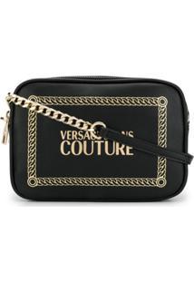 Versace Jeans Couture Bolsa Transversal Com Logo - Preto