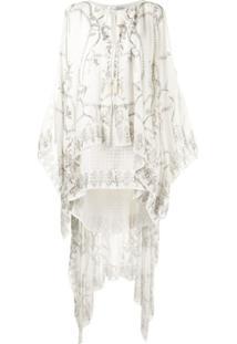 Camilla Vestido Com Sobreposição Translúcida - Branco