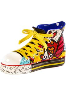 Escultura Romero Britto Sapato Sneaker Resina Trevisan