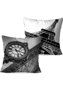 Kit 2 Capas Para Almofadas Decorativas Love Decor Londres E Paris 35X35Cm Pretas