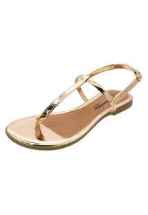 Sandália Romântica Calçados Tirinhas Dourado