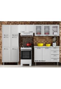 Cozinha Compacta 3 Peças, 3 Portas De Vidro Sem Balcão Premium Itatiaia Branco