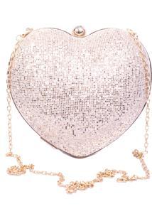 Bolsa Vicky Bijou Clutch Coração Dourado