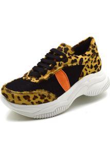Tênis Sneaker Chuncky Ellas Online Preto/Leopardo