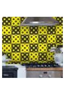 Adesivo De Azulejo Bolinhas Preto E Amarelo 20X20Cm
