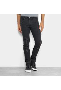 Calça Jeans Skinny Zune Estonada Masculina - Masculino-Preto