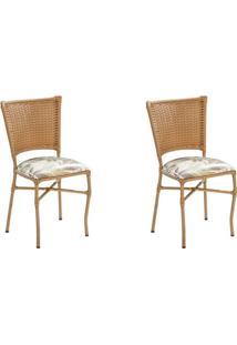Conjunto Com 2 Cadeiras Emily Marrom Claro