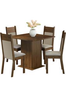 Conjunto De Mesa Com 4 Cadeiras Malibu Suede Rustic E Pérola