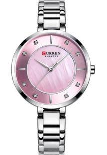 Relógio Curren Analógico C9051L Feminino - Feminino-Prata+Rosa