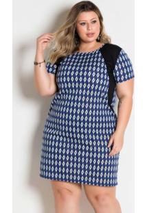 Vestido Geométrico Plus Size Com Mangas Curtas