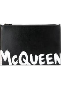 Alexander Mcqueen Clutch Com Estampa De Logo Contrastante - Preto